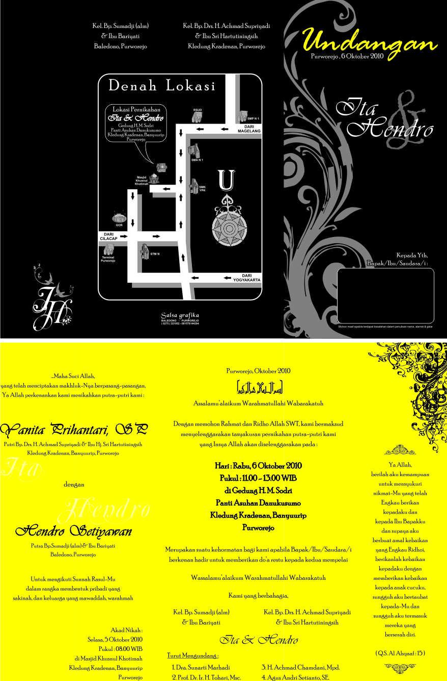 undangan nikah kuning hitam Undangan pernikahan yang akan membuat indah susana nikah anda. [CT 03]