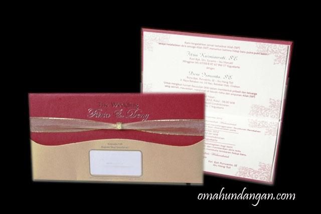 undangan nikah hardcover merah pita Undangan merah hardcover [HC 15]