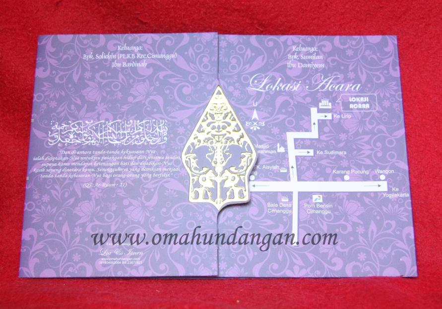 undangan ornamen wayang Undangan Pernikahan Ungu Elegan klasik [SC 32]