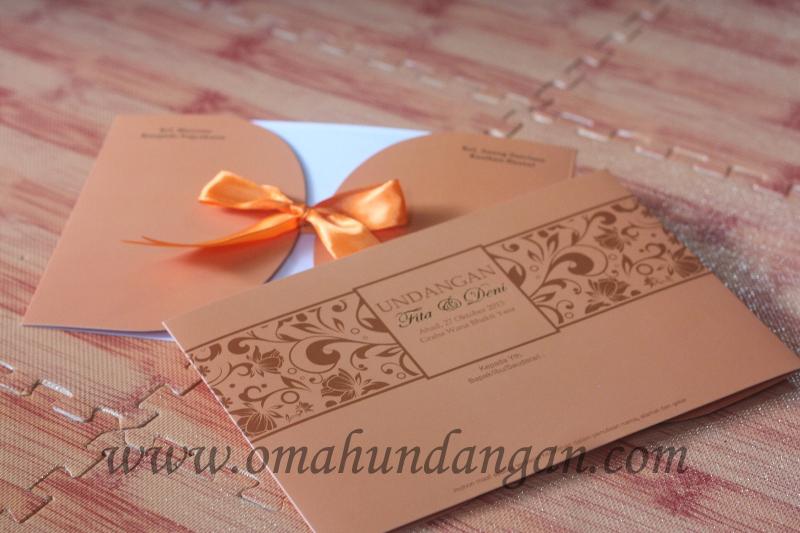 undangan pita coklat elegan Undangan nikah coklat [SC 42]