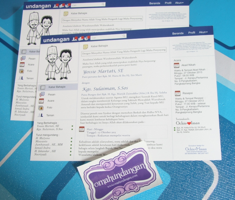 undangan pernikahan facebook Undangan facebook 1 lembar [SC 49]