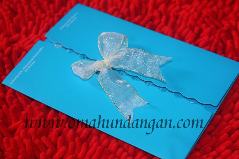 undangan elegan biru Undangan Biru pita putih [SC 55]