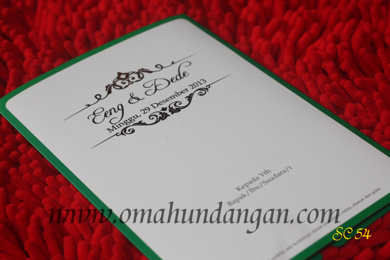 undangan putih hijau Undangan putih pita hijau [SC 54]