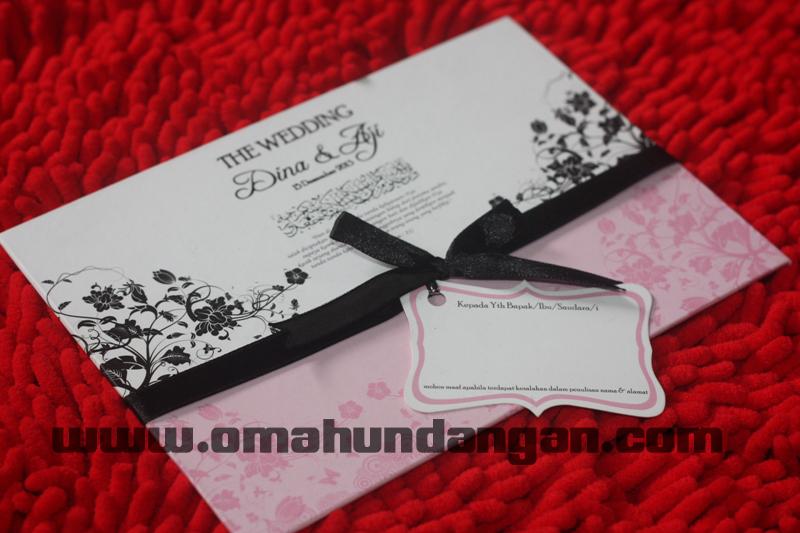 undangan hardcover pink Undangan single hardcover pink pita [shc 04]